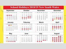 Free Printable School Holidays Calendar 2019 NSW