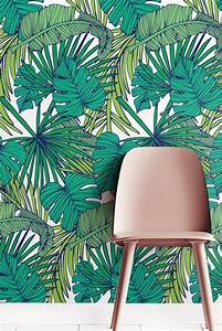 Palm monstera leaf wallpaper removable self