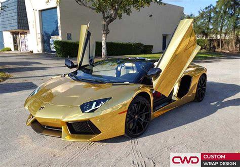 A Golden Lamborghini by Lamborghini Aventador Gold Chrome Wrap