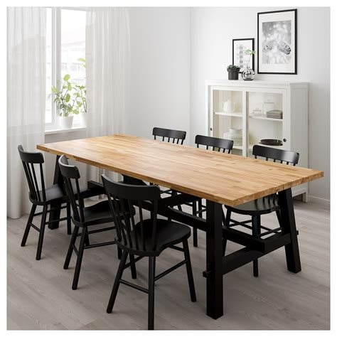 ikea kitchen tables norraryd skogsta table and 6 chairs acacia black 235 x 100