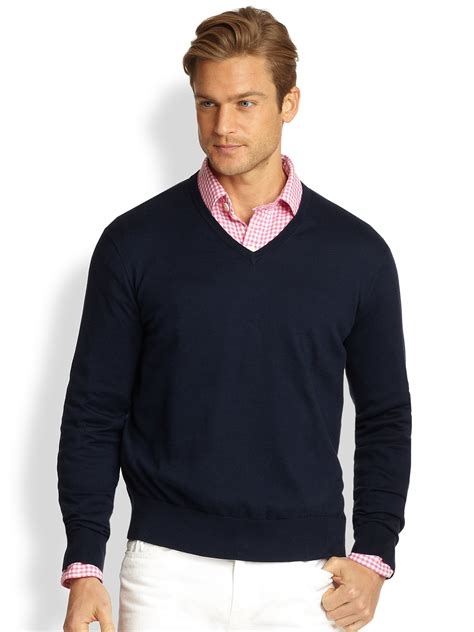 mens v neck sweater polo ralph cotton v neck sweater in blue for lyst