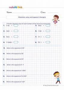 Integers Worksheets For Grade 6