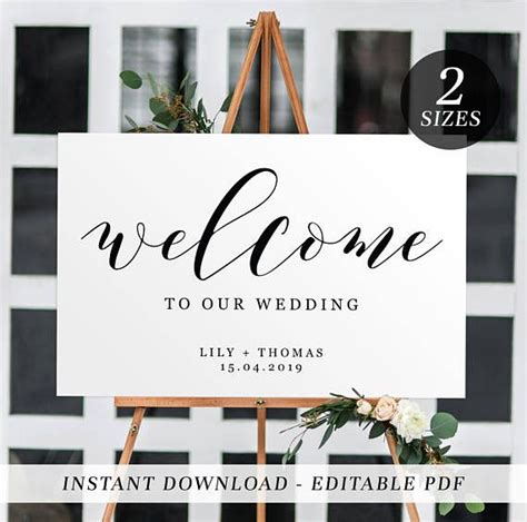 printable wedding  sign editable template