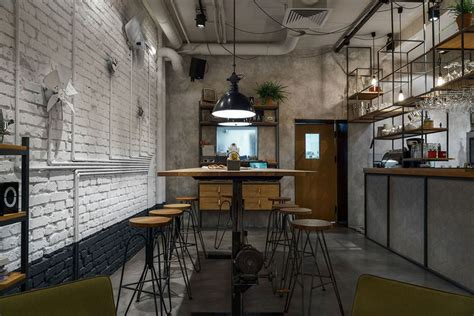 industrial cafe interior design furniture cafe with modern industrial style current trend Modern