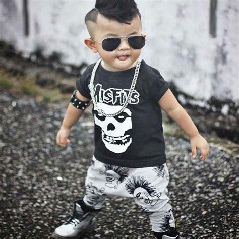 Newborn Boys Girls Baby Clothes Sets Jumpers Toddler Fall Skull Print Baby punk rock Harlan ...