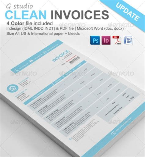 invoice templates psd docx indd