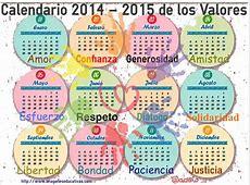 Calendario de los Valores 20142015 Imagenes Educativas