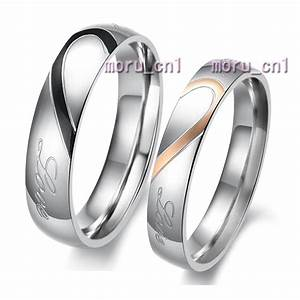 Classic heart shape matching wedding bands titanium couple for Matching titanium wedding rings
