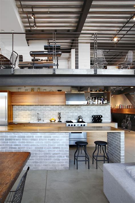 modern kitchen island with seating industrial loft in seattle functionally blending materials