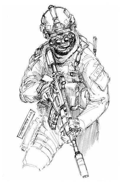 Military Army Drawings Forces Special Operator Drawing