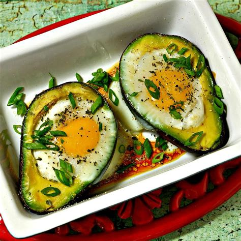 cooked avocado eggs baked in avocado recipe all recipes uk