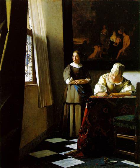 webmuseum vermeer jan lady writing  letter   maid