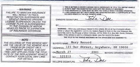 Free Delaware Motor Vehicle (dmv) Bill Of Sale Form