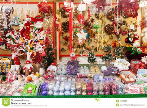 traditional christmas toys and gifts at stand editorial