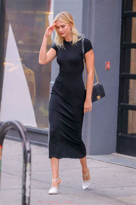 Karlie Kloss Black Dress Out New York Gotceleb