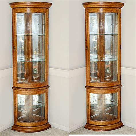 Corner Display Cabinet by Pair Of Lighted Curved Glass Corner Display Cabinets Ebth