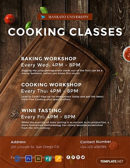 cooking classes flyer template word psd apple