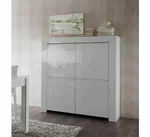 meuble moderne blanc laque 4 portes quottrendyquot 1749 With meuble de rangement moderne