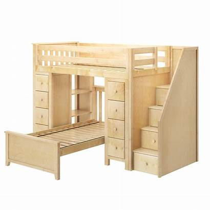 Bed Loft Storage Twin Natural Staircase Nl