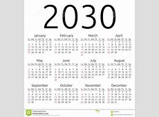 Vector Calendar 2030, Sunday Stock Vector Image 62409285