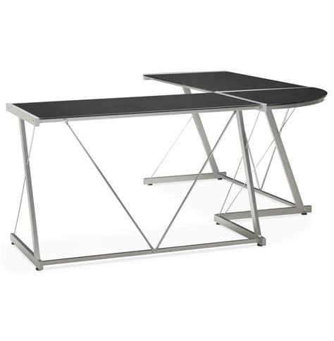 bureau verre angle grand bureau d 39 angle modulable en verre noir peek
