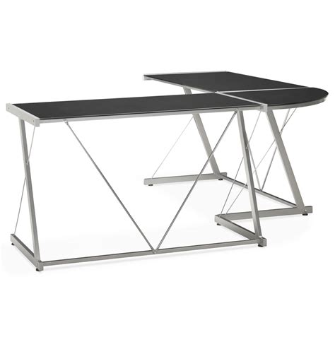 bureau en verre d angle grand bureau d 39 angle modulable en verre noir peek