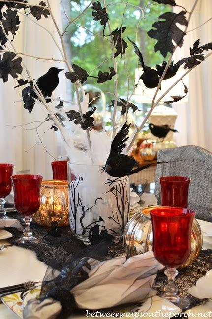 halloween table setting tablescape  raven crow centerpiece