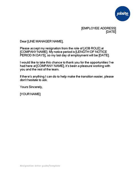 Basic Resignation Letter With Notice | Templates at allbusinesstemplates.com