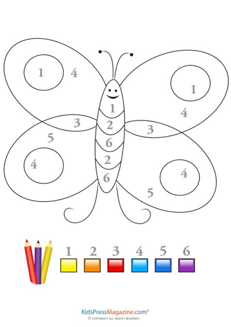 fanciful butterfly color by number kidspressmagazine