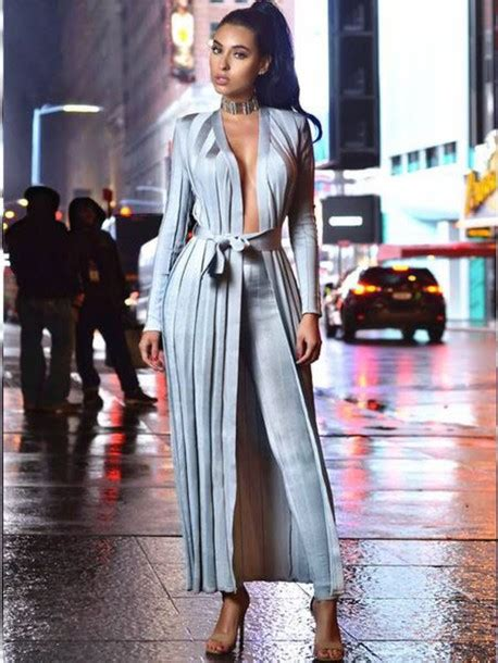 Jumpsuit silver blue grey cardigan long sleeves long cardigan pants leggings sexy sexy ...