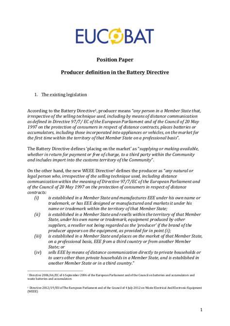 eucobat position paper producer definition