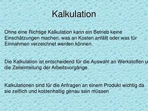 Kalkulation Von Baupreisen : ppt kalkulation im produktionsbetrieb powerpoint ~ Lizthompson.info Haus und Dekorationen