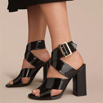 Leather Sandals Patent Buckle Burberry Shoes Lyst