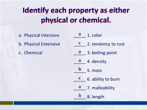 matter properties physical chemical examples combustibility tendency flammability