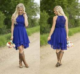 modest country western style royal blue bridesmaid dresses 2016 chiffon simple knee - Western Bridesmaid Dresses