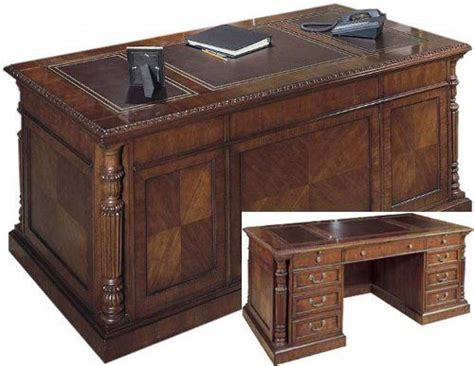 hekman desk leather top 72 quot solid wood executive desk with leather top fhd930 by