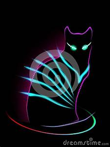 Neon Cat Stock Illustration Image