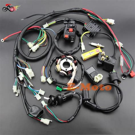 buggy wiring harness loom gy6 engine 125 150cc atv electric start stator 8 coil ngk spark