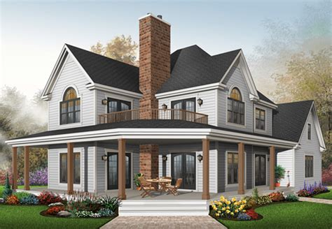 Two Story House With Wrap Around Porch by Laurel Hill Country Farmhouse Plan 032d 0702 House Plans