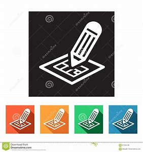 Flat, Icons, Blueprint, Design, For, A, Building, Stock, Illustration