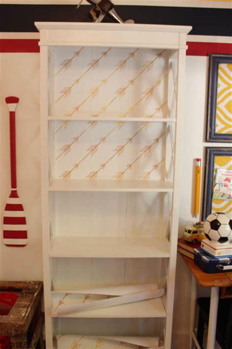 easy diy wallpaper backed bookcase  item challenge