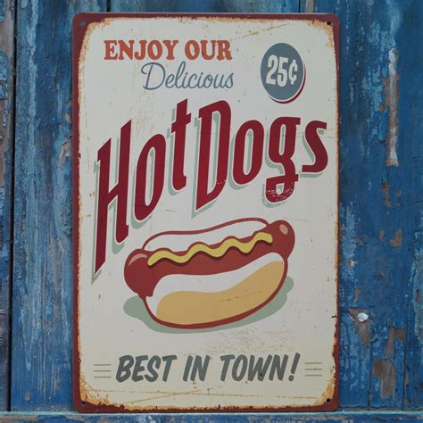 plaque metal cuisine collectibles hotdogs signs retro metal tin signs fast food