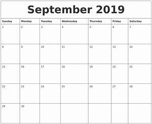 Sept 2020 Calendar Printable September 2019 Calendar
