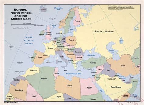 large political map  europe north africa   middle