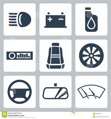 vector auto parts icons set stock vector image