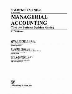 Solutions Manual To Accompany Managerial Accounting Tools