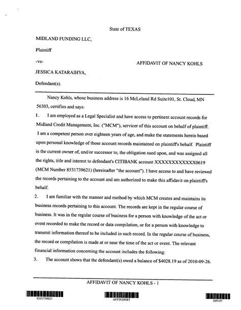 verified denial  account  affidavit