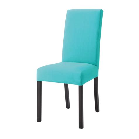 housse de chaise en coton turquoise margaux maisons du monde