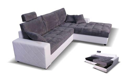 h et h canapé canape d 39 angle à droite convertible mondo blanc microfibre