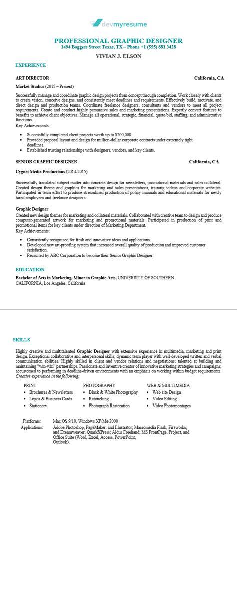 graphic design resume devmyresume